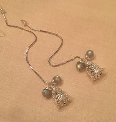 Sterling Silver Threader Earrings handmade with natural moonstone beads and silver bells by HoneyMoonNYC on Etsy