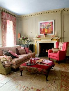Pink Curtian Red Flower Sofa And Fireplace In Lovely Living Room Design1 - pictures, photos, images