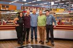 Penny Davidi, Ron Ben-Israel, Pat Neely and Justin Warner with host Guy Fieri on Food Network's Guy's Grocery Games All-Stars