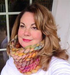 Apricot Grove Cowl Ultra Chunky Knit Scarf Peach by AudreyKnitted