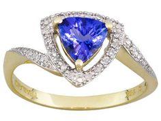 1.05ct Trillion Three Blade Triangle Cut Tanzanite With .10ctw Round Diamond 10k Yg Ring Erv $581.00