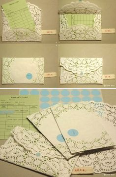 I like the ide of envelopes and also using the paper doilies in conjunction with the sewn favor boxes