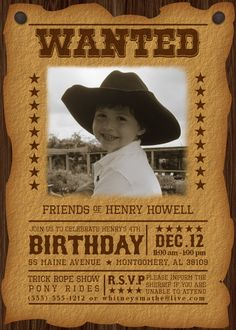 western vintage birthday invitations | Cowboy Western Wanted - Custom Printable DIY Birthday Invitation