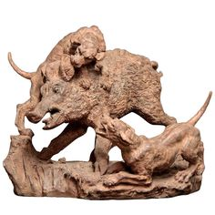19th Century french Terracotta Group of Wild Boar and Two Dogs | collectibles/animal-sculptures/
