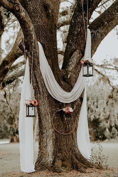 Lush Rustic Jensen Beach Wedding at The Mansion at Tuckahoe Draped white linen, hanging lanterns and floral wreaths created a dreamy rustic feel at this outdoor ceremony Wedding Ceremony Ideas, Wedding Venues, Ceremony Arch, Fall Wedding Arches, Outdoor Wedding Ceremonies, Small Wedding Receptions, Wedding Aisles, Wedding Destinations, Wedding Programs