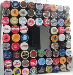 Love this idea, beer caps glued onto frames.