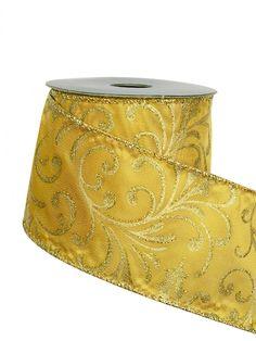 Gold Filigree Pattern On Gold Organza Ribbon -