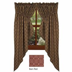 New Primitive Lover's Knot Coverlet PRAIRIE SWAGS Curtains Tan BLACK or BARN RED | eBay