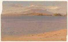 Monte Katahdin do Lago Millinocket. 1878. Óleo no cartão. Frederic Edwin Church (Hartford, Connecticut, USA, 04/05/1826 — Nova Iorque, NY, USA, 07/04/1900).