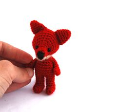 miniature fox stuffed woodland animal little amigurumi fox crocheted wee red fox cuddle little doll red forest animal collectible on Wanelo