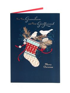 Winter Stocking Christmas Card - For Grandson & Girlfriend
