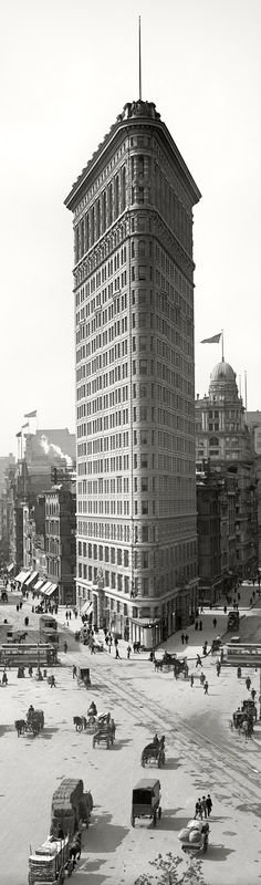 """""""New York circa 1903 The Flatiron Building"""" - So many cities (older) and not only in the states seem to have this style of architecture! I, as a child even noticed this repetative architecture! What was once the clamoring center of global cities."""
