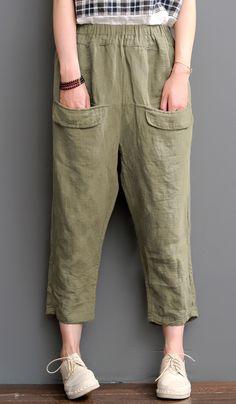 Tea green pants linen crop pants