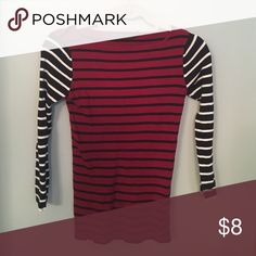 The Limited Outback Red striped sweater size XS Maroon, navy and white striped lightweight sweater in perfect condition. Worn once or twice.... The Limited Sweaters Crew & Scoop Necks
