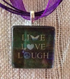 Live Laugh Love Butterfly Peace Heart Glass Tile Pendant Ribbon Mother's Day