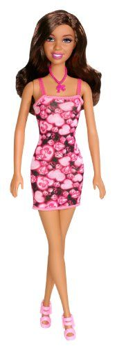 Pink-tastic style is coming your way with the Barbie Icons African American Doll! Barbie models an ultra cute look in an ultra-cute Barbie print. The pink and black dress makes a statement with big he...