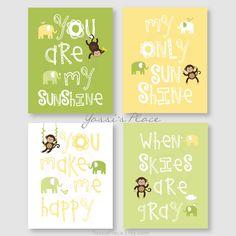 Monkey Art Kids Wall Decor Yellow and Green Nursery by YassisPlace, $59.95