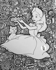Mad Hatter Alice in Wonderland An example of how a regular coloring book printable/page can be transformed with Zentangle. Disney Coloring Pages, Coloring Pages To Print, Coloring Book Pages, Coloring For Kids, Coloring Sheets, Disney Up, Mandala Disney, Dibujos Zentangle Art, Disney Printables