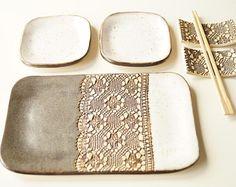 Blanco de Sushi 6 piezas de servir juego 2 plato de Sushi