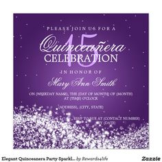 Elegant Quinceanera Party Sparkling Wave 2 Purple Invitation