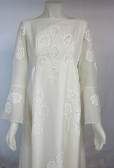Vintage Late 1960s Organza & Lace  Empire Bell Sleeves Train Wedding Dress   From a collection of rare vintage evening dresses at http://www.1stdibs.com/fashion/clothing/evening-dresses/