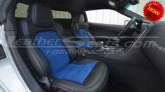 2012 Chevrolet Corvette Leather Seats - LeatherSeats.com - Made in Ecstasy Black w/ Blue Alcantara Inserts - An AWESOME UPGRADE