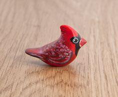 Little Cardinal bird. Polymer clay animal by LifedanceCreations