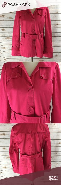 Pink Halogen Coat Super fun for spring. Front buttons and a belt.  Like a short version of a trench coat. Halogen Jackets & Coats