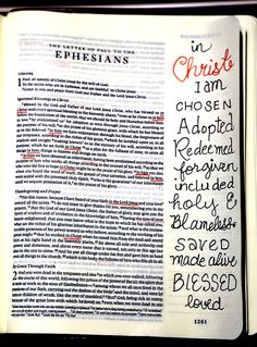 """Many of the blessings of being """"In Christ"""" found in Ephesians"""