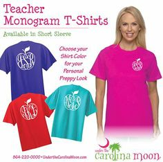 This would be great for any teacher. Have this customized with their monogram and favorite color shirt.