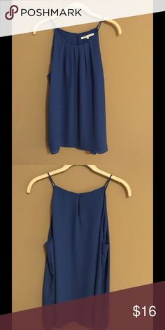 Sapphire Blue Pleated Neck Spaghetti Strap Top This cute blue spaghetti strap top can be dressed up or down. Perfect for the spring and summer, wear alone or under a sweater or blazer. Never worn. Violet & Claire Tops Camisoles