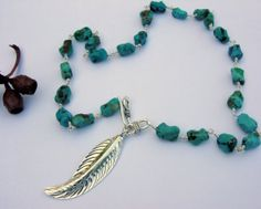 Silver beaded strand turquoise leaf necklace or by Macalania, $90.00