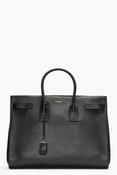 SAINT LAURENT Black buffed leather Sac Du Jour Carryall Tote