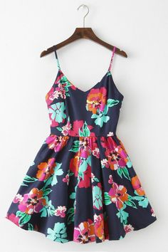 【Almost Gone】Blossom Navy Strap Cute Retro Sundress