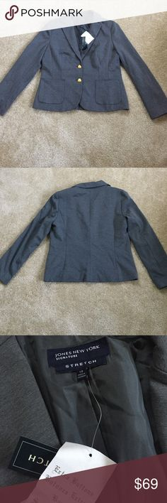 Gray Jacket with gold button detail New with tags Jones New York Jackets & Coats