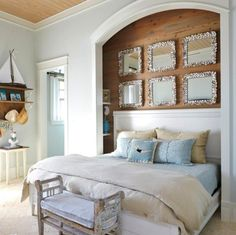 Mirrors above Bed Headboard