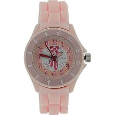 Tikkers Girls White Dial Baby Pink Rubber / Silicone Strap Watch TK0019