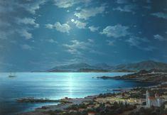 Moonlit night above Crete, 2009 ~ by  George Dmitriev (1957-)