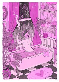 Smoking in the tub Kunst Inspo, Art Inspo, Art And Illustration, Illustrations, Fantasy Kunst, Fantasy Art, Dope Kunst, Art Sketches, Art Drawings