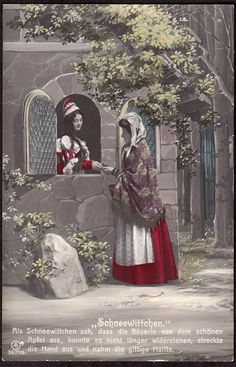 old Snow White and the Seven Dwarfs staged photograph, color-tinted