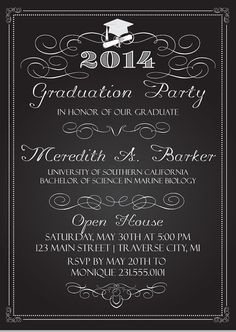 Chalkboard Graduation Party Invitations - Graduation Announcement - College or High School