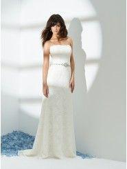 Column Satin Embroidered Bodice Strapless Neckline Sweep Train Wedding Dress (1024)