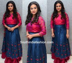 Keerthy Suresh in a long skirt and crop top at Remo success meet Lehnga Dress, Frock Dress, Lehenga Gown, Lehenga Blouse, Anarkali, Choli Designs, Lehenga Designs, Blouse Designs, Blouse Patterns