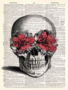 Skull with flower eyes