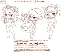 Chibi Pose Reference (Ultimate Chibi Base Set by Nukababe on DeviantArt Chibi, Drawing Reference, Character Drawing, Character Design, Poses, Pose Reference, Anime Character Design, Chibi Drawings, Character Design References