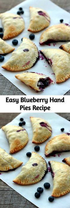 A flaky, crispy crust on the outside and warm blueberries spilling with their ju. A flaky, crispy crust on the outside and warm blueberries spilling with their juices inside - definitely a ke Easy Pie Recipes, Fall Dessert Recipes, Tart Recipes, Just Desserts, Cooking Recipes, Blueberry Hand Pies Recipe, Mini Peach Pies, Recipe For Mom, Food To Make