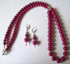 Dark Mauve Necklace with Earrings
