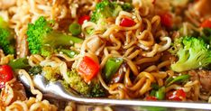 Quick Chicken Ramen Noodle Recipe | Damn Delicious Stir Fry Noodles, Ramen Noodles, Carrots And Green Beans, Ramen Noodle Recipes, Quick Stir Fry, Asian Recipes, Ethnic Recipes, One Pot Pasta, Chicken Stir Fry