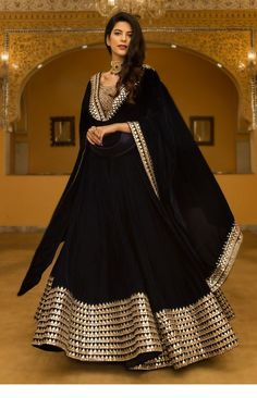 Silk A Line Lehenga Choli In Black Colour Black Colour Georgette Silk A Line Lehenga Choli Comes With Matching Banglori Silk Blouse Fabric. This Lehenga Choli Is Crafted With Embroidery,Lace Work. This Lehenga Choli Is Semi Stitched and Blous. Lehenga Choli Designs, Ghagra Choli, Bridal Lehenga Choli, Lehenga Designs Latest, Bollywood Lehenga, Party Wear Lehenga, Designer Bridal Lehenga, Indian Attire, Indian Outfits