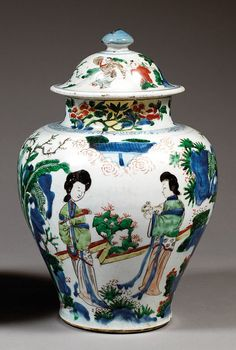 A wucai jar and cover, China, China, Qing dynasty, Kangxi period.